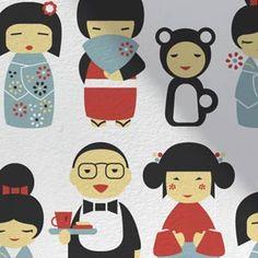 Aimee Wilder - Kokeshi Wallpaper. Hand silk screened wallpaper