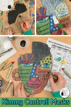 Looking for a Kimmy Cantrell art lesson for kids that's more than just a face drawing project? Check out this cardboard assemblage mask lesson using oil pastel