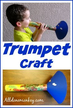 Trumpet Craft {Birth of Baha'u'llah} - All Done Monkey Music Instruments Diy, Instrument Craft, Homemade Musical Instruments, Music Activities For Kids, Music For Kids, Toddler Activities, Group Activities, Toddler Crafts, Preschool Crafts