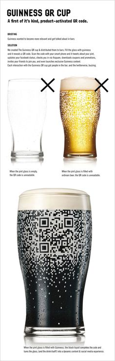 pour a Guinness into the glass, and the beer's black color fills out the QR Code. Doesn't work with light beer.