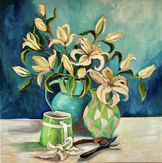 Oriental lilies and Green Vases – Ali Wood Artist