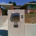 Rendered Brick letter Box and front fence