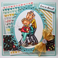 """Card featuring """"Young at heart"""" from Kraftin' Kimmie Stamps. Designed by Deborah Deruyck"""