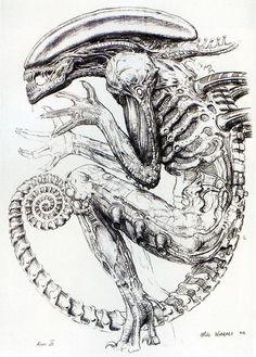 """You've been in my life so long, I can't remember anything else."" Image: Xenomorph concept art by Mike Worrall for Alien Arte Alien, Alien Art, Alien Vs Predator, Concept Draw, Alien Concept, Aliens Movie, Arte Obscura, Alien Creatures, Arte Horror"