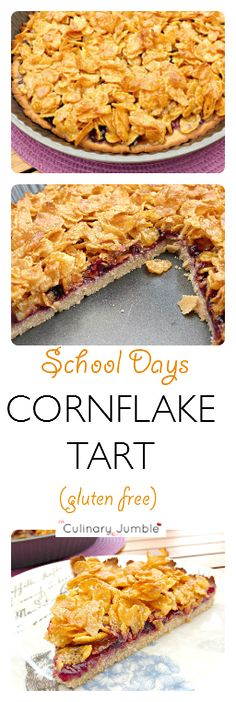 Retro Style Transport yourself back to the school canteen with this retro-style Cornflake Tart (with a modern twist) - This light chicken cabbage crockpot soup is a great midweek meal. Simple to make as well as being low fat, clean and gluten free. School Dinner Recipes, Chocolate Silk Pie, Sweet Recipes, Healthy Recipes, Delicious Desserts, Yummy Food, Peanut Butter Granola, Sweet Tarts, Desert Recipes