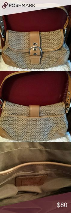 PRETTY!  Coach Tan Signature Shoulder Bag PRETTY!  Authentic Coach Tan Leather and Canvas Shoulder Bag /comes with dust bag / Date code - F10926  Good condition / gently used leather/ scuff marks on leather see pic Coach Bags Shoulder Bags