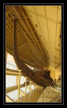 """Khufu ship  The reconstructed """"solar barge"""" of Khufu The Khufu ship is an intact full-size vessel from Ancient Egypt that was sealed into a ..."""