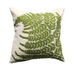 """20"""" Square Cotton Pillow w/ Fern Fronds Embroidery"""