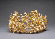 """The Macedonian gold wreath, 4th c. BC, that was repatriated from the Getty. The Getty called it """"a lavish miniature garden."""""""