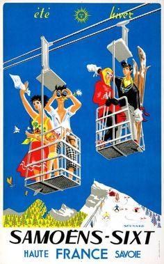 1955 Samoens-Sixt, France l ski poster. Art by Sechaud.
