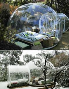 "For a unique camping experience, stay in one of the Attrap'Rêves (""dreamcatchers"") network of translucent bubble"