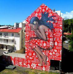 by Julien Malland - french painter on Festival de Arte Urbana ONO'U, Tahiti 3d Street Art, Murals Street Art, Best Street Art, Amazing Street Art, Art Mural, Street Art Graffiti, Street Artists, Amazing Art, Banksy