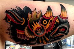 Arm Old School Rhino Tattoo by Montalvo Tattoos