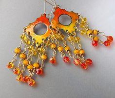 Orange Chandelier Earrings Bohemian Jewelry door OxArtJewelry, $59,00