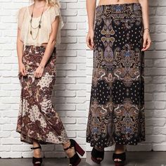 💠💠The LORELEI paisley print maxi skirt - BLACK Printed Fold-Over Maxi Skirt. Super comfy. ‼️NO TRADE‼️ Skirts Maxi