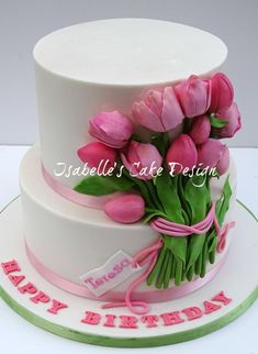 A two tier birthday cake for Teresa's birthday, all in vanilla sponge and white chocolate ganache. Decorated with handmade pink sugar tulips as they are her favourite flowers. Gorgeous Cakes, Pretty Cakes, Cute Cakes, Amazing Cakes, Cake Icing, Fondant Cakes, Cupcake Cakes, Tulip Cake, Floral Cake