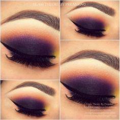 Maquiagem Roxa com toque de laranja e amarelo: Inspirações!! - Moda a Meu Modo
