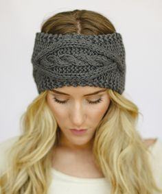 Gray Cable-Knit Headband. I love the look with the ombre, maybe I should wear one like this