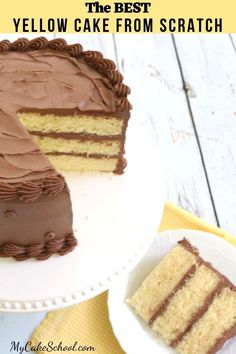 This Yellow Layer Cake from scratch is so buttery, moist, and flavorful! This Yellow Layer Cake from scratch is so Yellow Cake With Chocolate Frosting Recipe, Cake Recipe Using Cake Flour, Chocolate Frosting Recipes, Cake Recipes From Scratch, Chocolate Layer Cake Recipe From Scratch, Three Layer Yellow Cake Recipe, Buttermilk Yellow Cake Recipe, 8 Inch Round Cake Recipe, Pastries