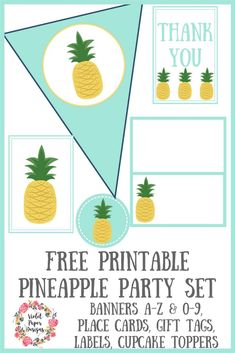 New Birthday Banner Free Printable Templates Gift Tags 54 Ideas Party Printables, Free Printables, Printable Templates, Pineapple Gifts, Bbq Party, Fruit Party, Luau Party, Beach Party, Diy Baby Gifts