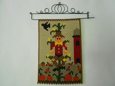 Scarecrow Beaded Banner with Metal Hanger
