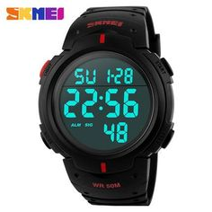 Mens Digital Sports Watch LED Screen Large Face Military Watches for Men Waterproof Casual Luminous Stopwatch Alarm Simple Army Watch, Black Digital Sports Watch, Digital Watch, Mens Sport Watches, Watches For Men, Wrist Watches, Black Watches, Pocket Watches, Army Watches, Led Watch