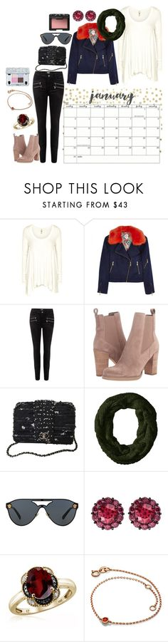 """""""January"""" by heidibartholdy on Polyvore featuring Free People, Paige Denim, Marc Fisher LTD, Chanel, Michael Stars, Versace, Color My Life, Jewelonfire and NARS Cosmetics"""