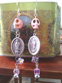 Pretty in Pink  holwite skull dangle earrings SOLD