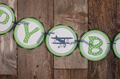 Airplane Vintage Happy Birthday Banner - Navy & Green