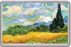 a vincent van gogh a wheatfield with cypresses 1889 fridge magnet iman nevera