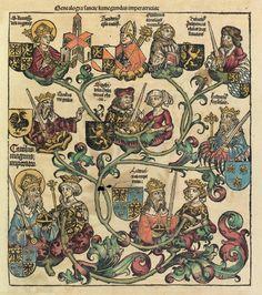 Family tree of Charlemagne from the Nuremberg Chronicle- CHARLEMAGNE. 4) BIOGRAPHIE. 4.1 PBS RELATIFS A LA NAISSANCE. 4.1.1: DATE, 2: La date de 742 se fonde sur un énoncé d'EGINHARD, selon lequel Charlemagne est mort dans sa 72° année. Mais il est apparu qu'Eginhard paraphrasait la Vie des 12 Césars de Suétone, de sorte que l'âge qu'il attribue à Charlemagne n'est pas totalement fiable.
