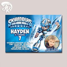 Skylanders Chili Warrior Birthday Party Card Digital Invitation With Photo Kid…