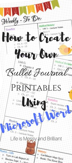 How to Make Bullet Journal Printables on Microsoft Word