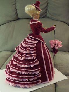 Hand crochet Barbie Doll crimson dress back view