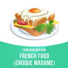 The croque monsieur is a baked or fried boiled ham and cheese sandwich. A croque madame is a version of the dish topped with a fried egg.  #croquemonsieur #croquemadame #sandwich #sandwiches #frenchfood #food #english #englishlanguage #learnenglish #studyenglish #language #vocabulary #dictionary #englishlearning