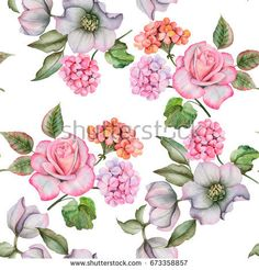Watercolor seamless pattern of flowers. Composition with rose, anemones and geranium, colorful floral elements isolated on white background.