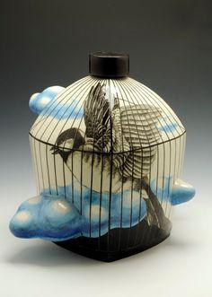 Ceramics, MyungJin Kim, Artist, Cloud Jar (front), 2009
