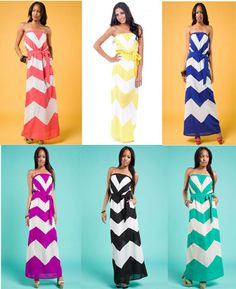 Chevron Strapless Maxi Rainbow | Rulehim.com