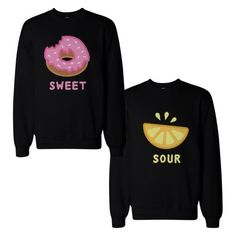 Cute Sweet and Sour Funny BFF Matching Couple SweatShirts for Best Friend, Size: Left- Small/ Right- 2X-Large, Black