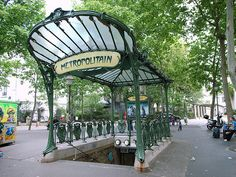 The Art Nouveau entrance of Abbesses metro station, designed by Hector Guimard, Paris.