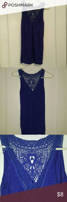 Flowy summer shirt. Will take reasonable offers. Cute navy blue shirt with a knitted back. Lightly worn. Size small. Made in USA. twentyone Tops Tank Tops