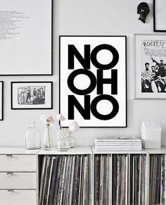 Modern art scandinavian print No oh No by PrintablePixel on Etsy