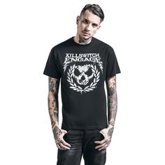 "Classica T-Shirt uomo nera ""Skull Leaves"" dei #KillswitchEngage."