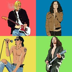 Lead singers of the 4 Seattle based Grunge bands Kurt Cobain - Nirvana Eddie Vedder - Pearl Jam Layne Staley - Alice in Chains Chris Cornell - Soundgarden & Audioslave! Grunge Goth, Soft Grunge, Arte Grunge, Style Grunge, Alice In Chains, Eddie Vedder, Chris Cornell, Kurt Cobain, Nirvana