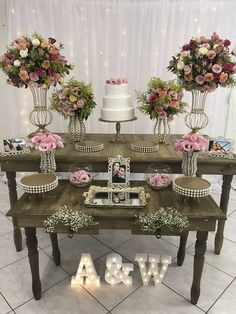 Top 14 Must See Rustic Wedding Ideas ---Wooden table wedding food bar with blush floral decorations with led letters, country weddings in barn/farmhouse venues. Birthday Party Decorations, Baby Shower Decorations, Wedding Decorations, Birthday Parties, Floral Decorations, Wedding Table, Rustic Wedding, Civil Wedding, Wedding Pinterest