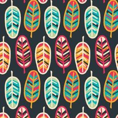 Cotton Fabric by the yard from Emma and Mila - Birds of a Feather Collection - Feathers