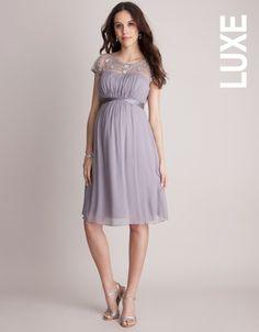 Elegant Taupe Beaded Maternity Cocktail Dress for Pregnant Women