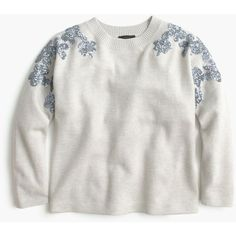 J.Crew Floral Sequin-Sleeve Sweater ($120) ❤ liked on Polyvore featuring tops, sweaters, sequin sleeve top, shrug cardigan, sleeve sweater, sequin top and floral sleeve sweater