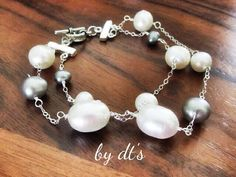 #Double #layer #sterlingsilver #bracelet with #twocolors #Pearls #bridalaccessories