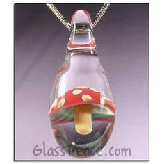 SALE Magic Mushroom Glass Pendant - Hand Blown Glass Jewelry by Glass Peace $18.00